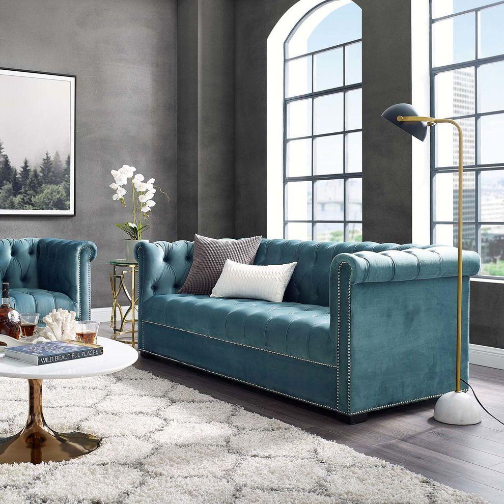 Heritage Sea Blue Sofa Eei 3064 Sea Modway Furniture Fabric Sofas Blue Sofas Living Room Chesterfield Style Sofa Velvet Sofa