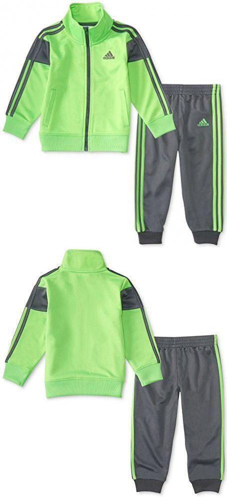 Adidas Jungen Sport Tricot Set (Neon Grün / Grau, 2T) |