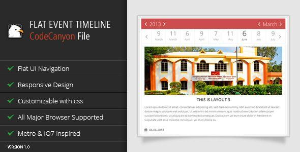 Jquery Flat Event Calendar Responsive Timeline  Event Calendar