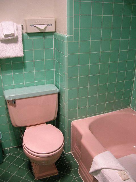 The Pink And Green Bathroom Green Bathroom Mint Green Bathrooms Pink Bathroom Accessories