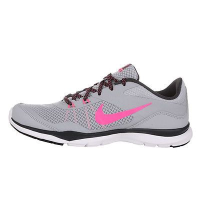 e837076f1a82f Nike Flex Trainer 5 Womens 724858-017 Grey Pink Cross Training Shoes Size 8