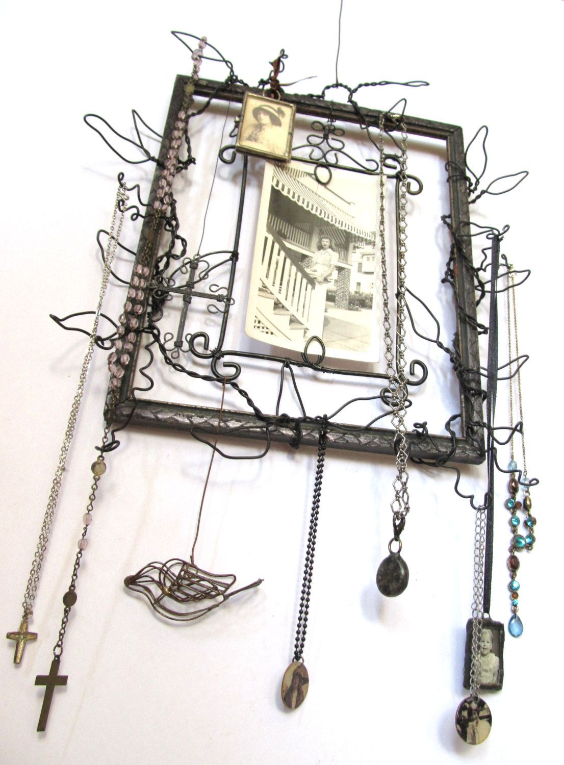 Vintage Frame and Wire Collage Hanging Message Board with Jewelry ...