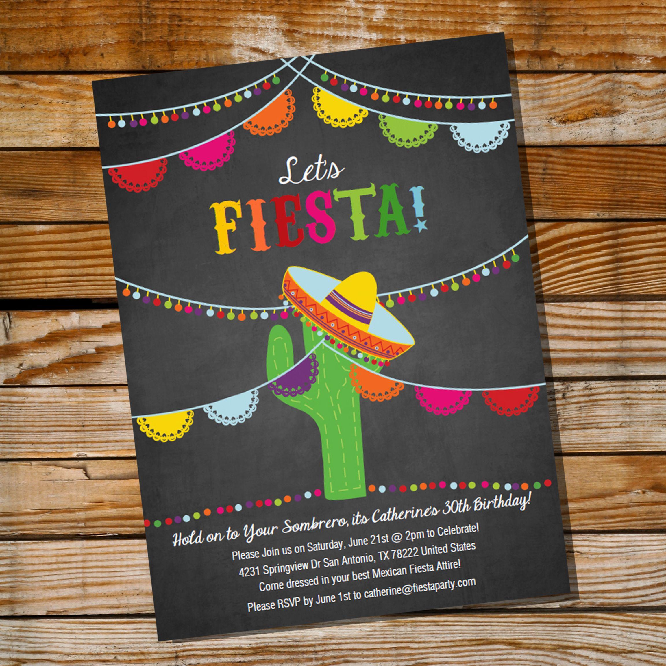 Mexican Fiesta Birthday Invitation | Party invitations, Fiestas and ...