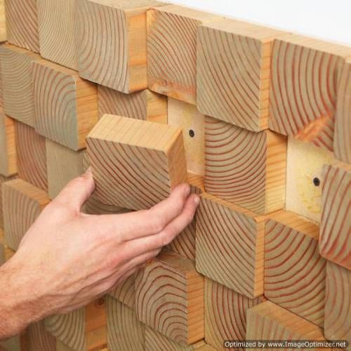 Wood Wall Design Idea   The Interior Design Inspiration Board is part of Wood wall design - Here's a trick for pulling off a distinctive accent wall composed of uneven wooden blocks  Start by drawing a grid pattern across your wall  Each square in the grid should be the same size as the with of the timber you can acquire  Slice the timber at various widths  Finish the wood squares as desired with paint, stain