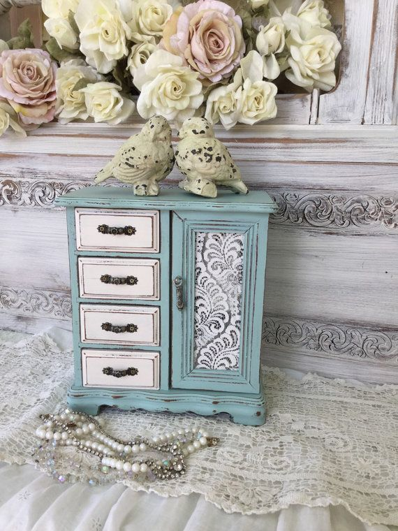 Shabby Painted Jewelry Box,Chippy distressed Aqua Blue and White ...