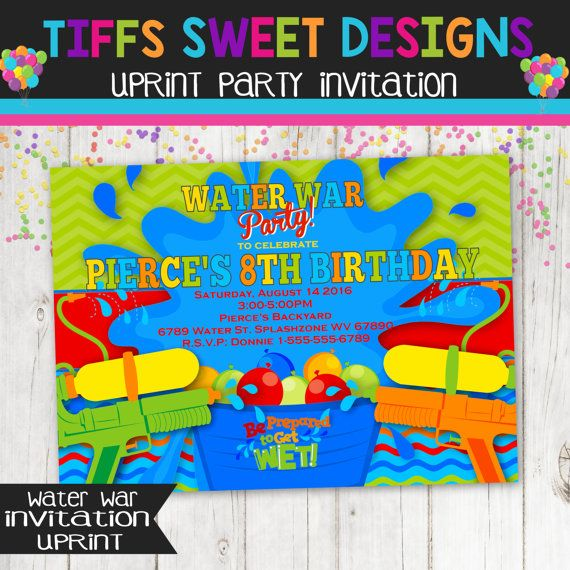 Backyard Water Party Invitation War By TiffsSweetDesigns
