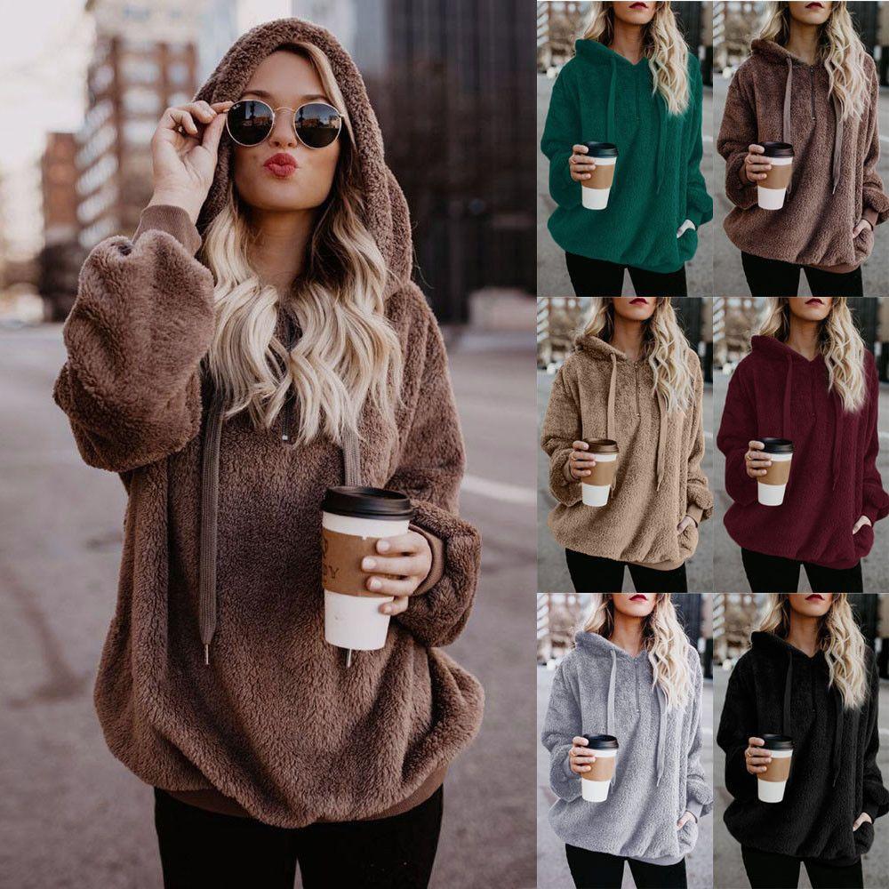 Women Hooded Sweatshirt Coat Winter Warm Fleece Wool Zipper Pocket Outwear Tops