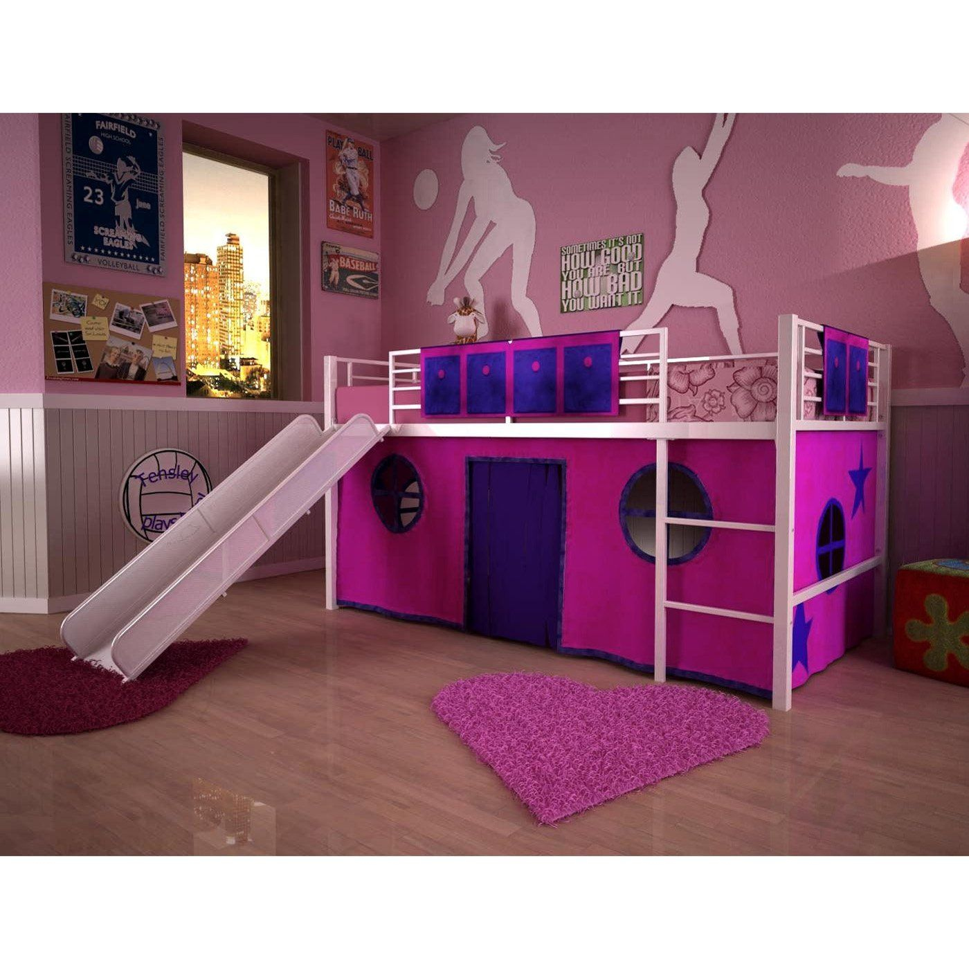girls loft beds for teens | berg furniture play and study loft bed