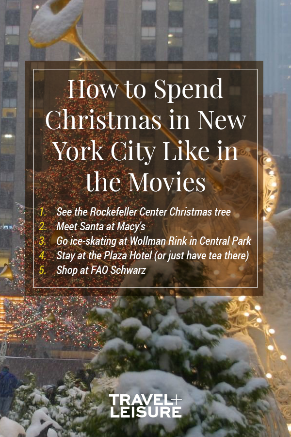 Christmas in New York City - Perhaps the most famous holiday attraction in New York City, the Rockefeller Center Christmas Tree is a sight. Standing at 78 feet, the iconic Norway spruce offers spectacular viewing if you're strolling by. #RockefellerChristmasTree #ChristmasinNewYork #holidaytravel #NewYorkCity | Travel + Leisure - How to Spend the Holidays in New York City Like in the Movies