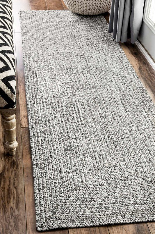 Braided Handmade Gray Off White Indoor Outdoor Area Rug In