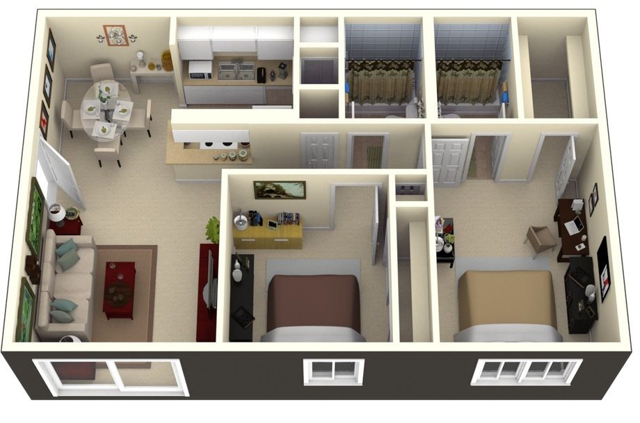 50 Two 2 Bedroom ApartmentHouse Plans  To live  Small
