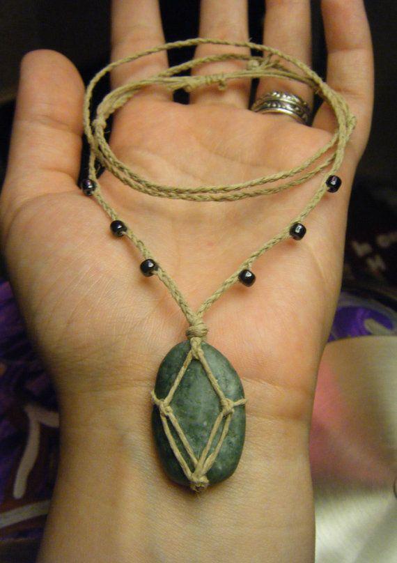 Photo of River Stone Long Necklace, Boho Stone Pendant, Stone Basket Pendant, Unisex Hemp & Stone Slipknot Necklace, Macrame Style Layering Jewelry
