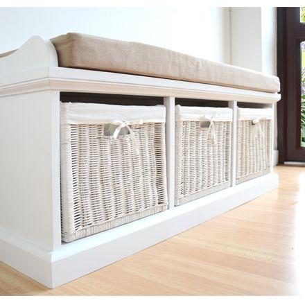 Tetbury Hallway Bench White Storage With Baskets And Cushion Ebay