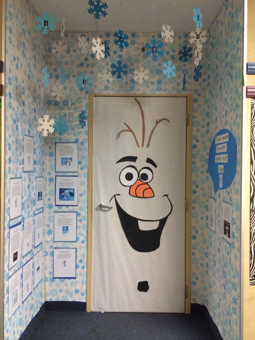 Photo of Olaf classroom door, Frozen, door decorating contest, winter, door decoration, s…