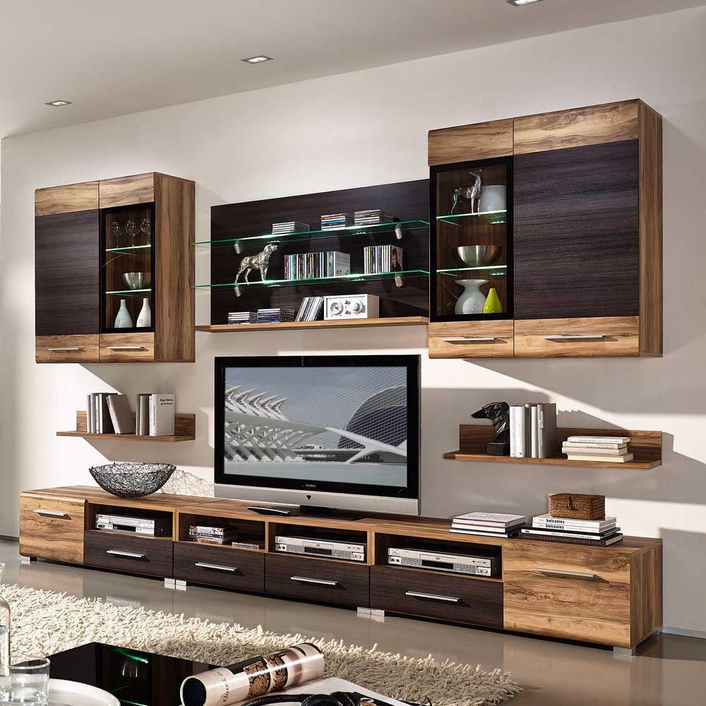moderne wohnwand mit viel stauraum kleine moderne. Black Bedroom Furniture Sets. Home Design Ideas