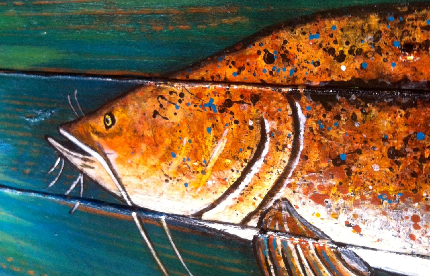 Flathead Catfish Painting, Outdoorsy gifts, Hand painted