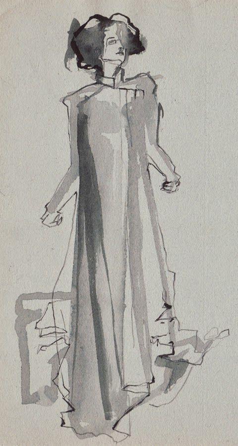 Ink sketch on grey paper by Maria Remedios Kleinschmidt (2014), Outfit: Franziska Link #fashion #fashionillustration #mariakleinschmidt