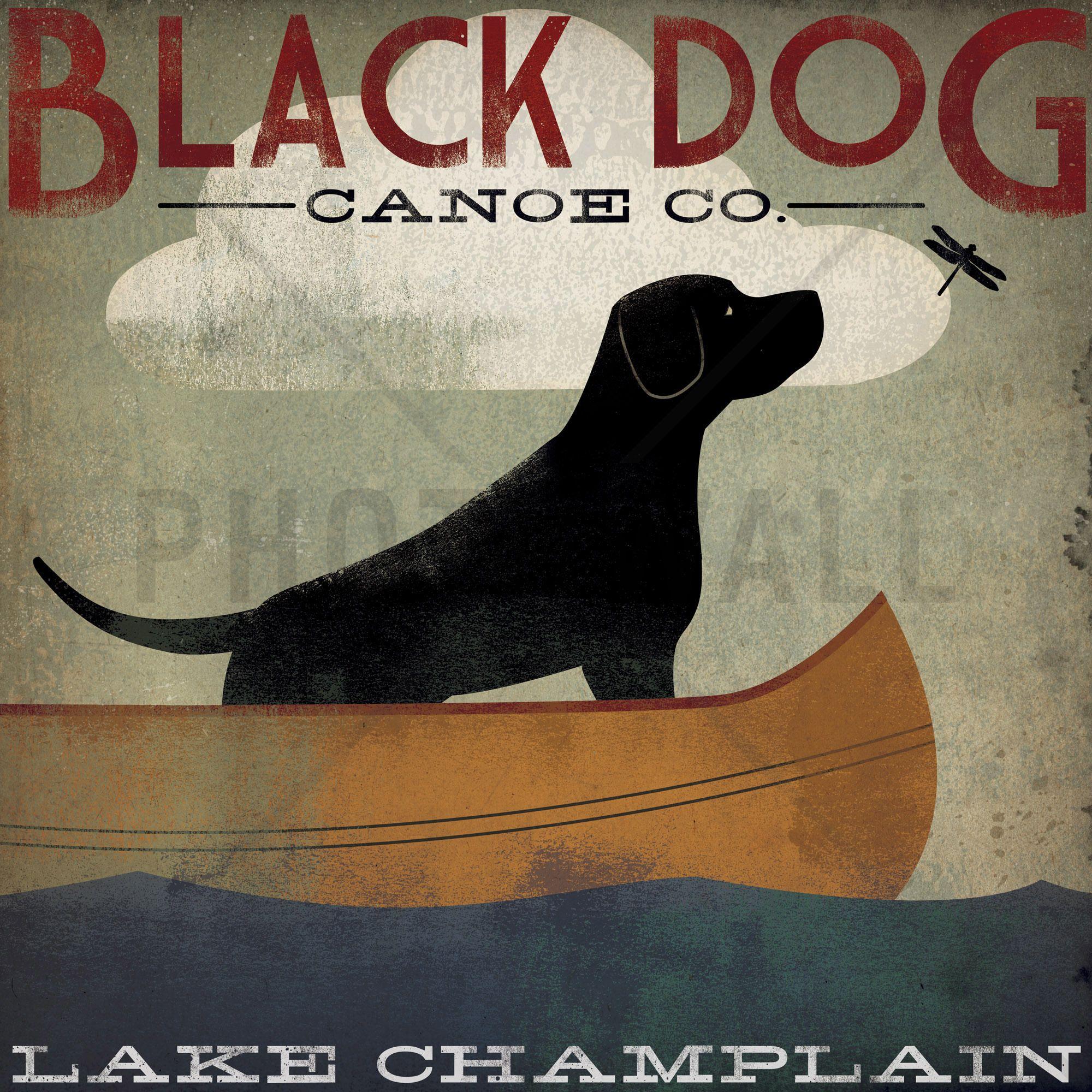 Black Dog Lake Champlain - Canvas-taulut (maalaus) - Photowall