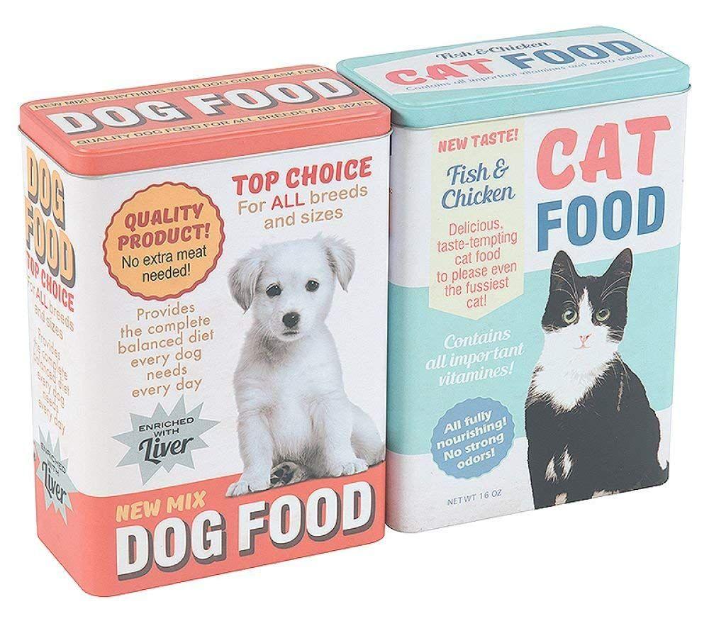 Metal Cat Dog Kitten Puppy Pet Dry Food Biscuit Treat Storage Box