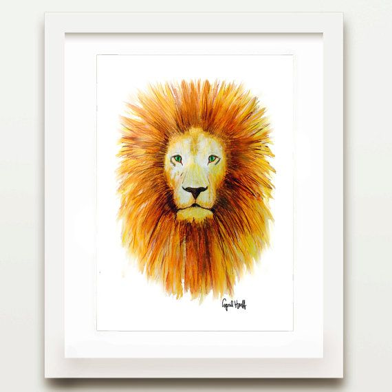 This is a PRINT of a lion illustration signed by the artist, April Marion. This piece is a great addition to any room and a perfect gift for