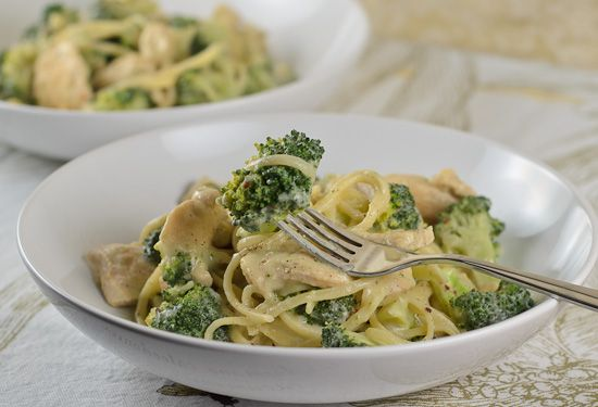A creamy broccoli and chicken pasta.  (Don't tell anyone, but it doesn't require cream or butter!)