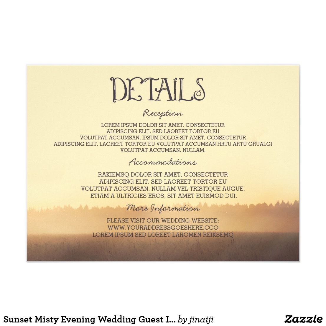 Sunset Misty Evening Wedding Guest Information Card | Sunset ...