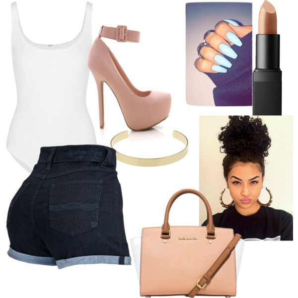 steppin out by jozettefair on Polyvore featuring polyvore fashion style Wolford Michael Kors Jennifer Fisher NARS Cosmetics