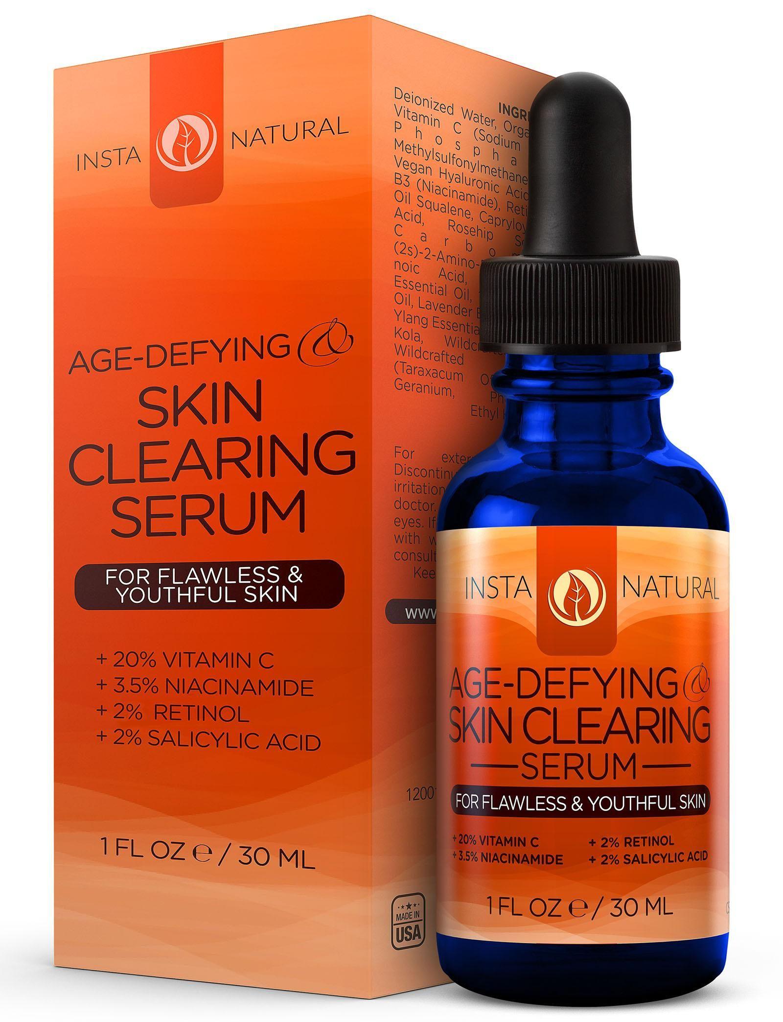 InstaNatural Vitamin C Skin Clearing Serum with Salicylic Acid for Oily Skin, 1 Oz Filorga U-SC-4914 1.7 oz Sleep-Recover Anti-Fatigue Night Balm
