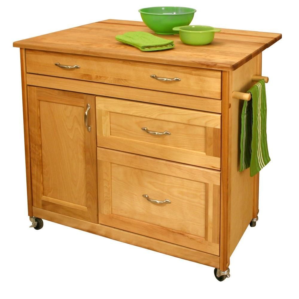 Catskill Craftsmen Natural Wood Kitchen Cart With Drop Leaf 1521 The Home Depot Portable Kitchen Island Kitchen Island On Wheels Rolling Kitchen Island