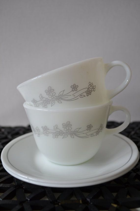 Corelle Ribbon Bouquet Cup and Saucer set of by TsEclecticCorner ...