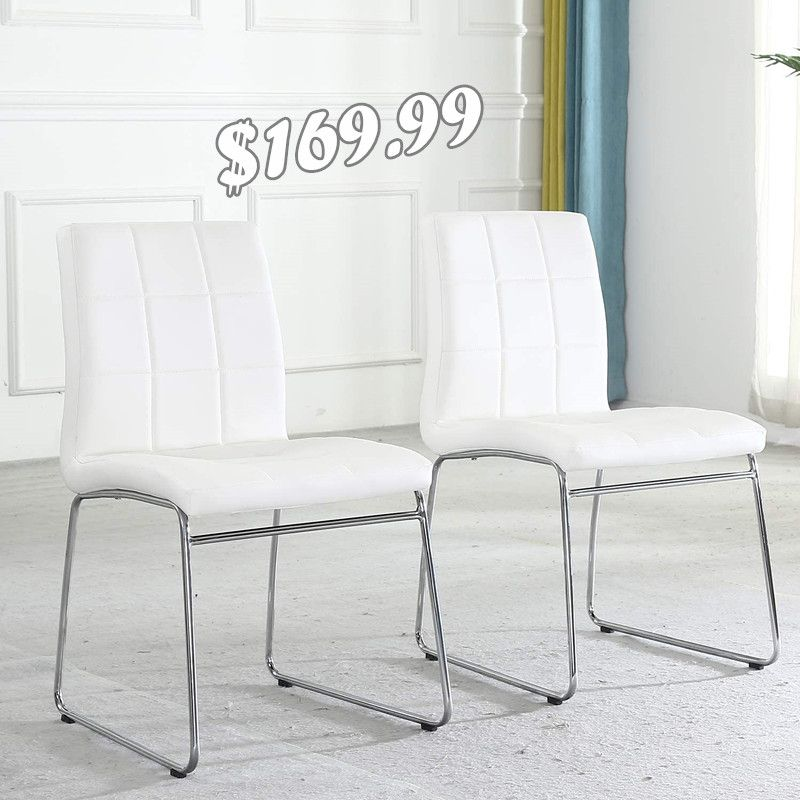 Modern dining chairs(set of 2,white)