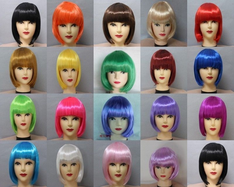Bob wig in several colors. Free Shipping Fashion Women Girls BOB Short Straight Party Wig Cosplay Full Wigs