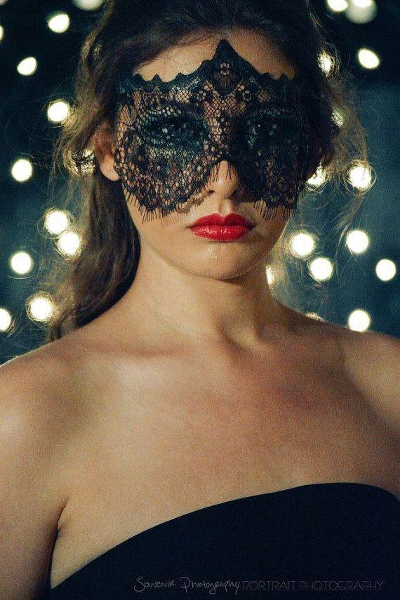 Superbe noir vénitien masquerade masque yeux halloween party dentelle robe fantaisie uk