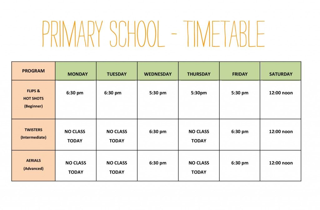 Primary-school-timetable The Little Gym