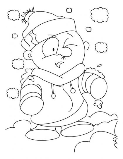 A boy disguise himself as a snowman coloring pages ...
