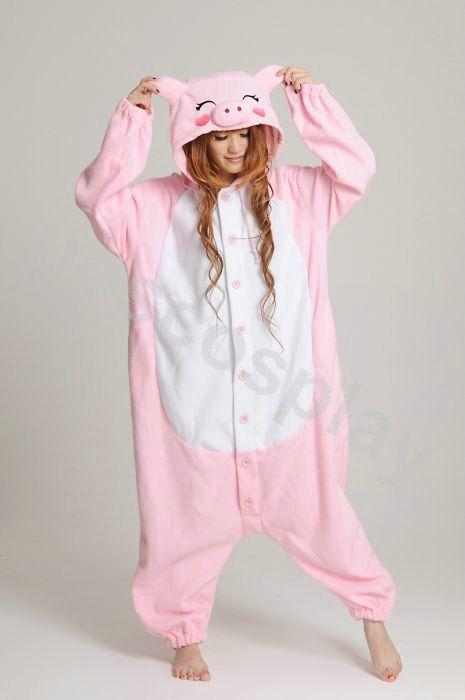 KIGURUMI Animal Pajamas Pyjamas Costume Onesie Adult / Kid SLOTH-pink pig. $49.99, via Etsy.