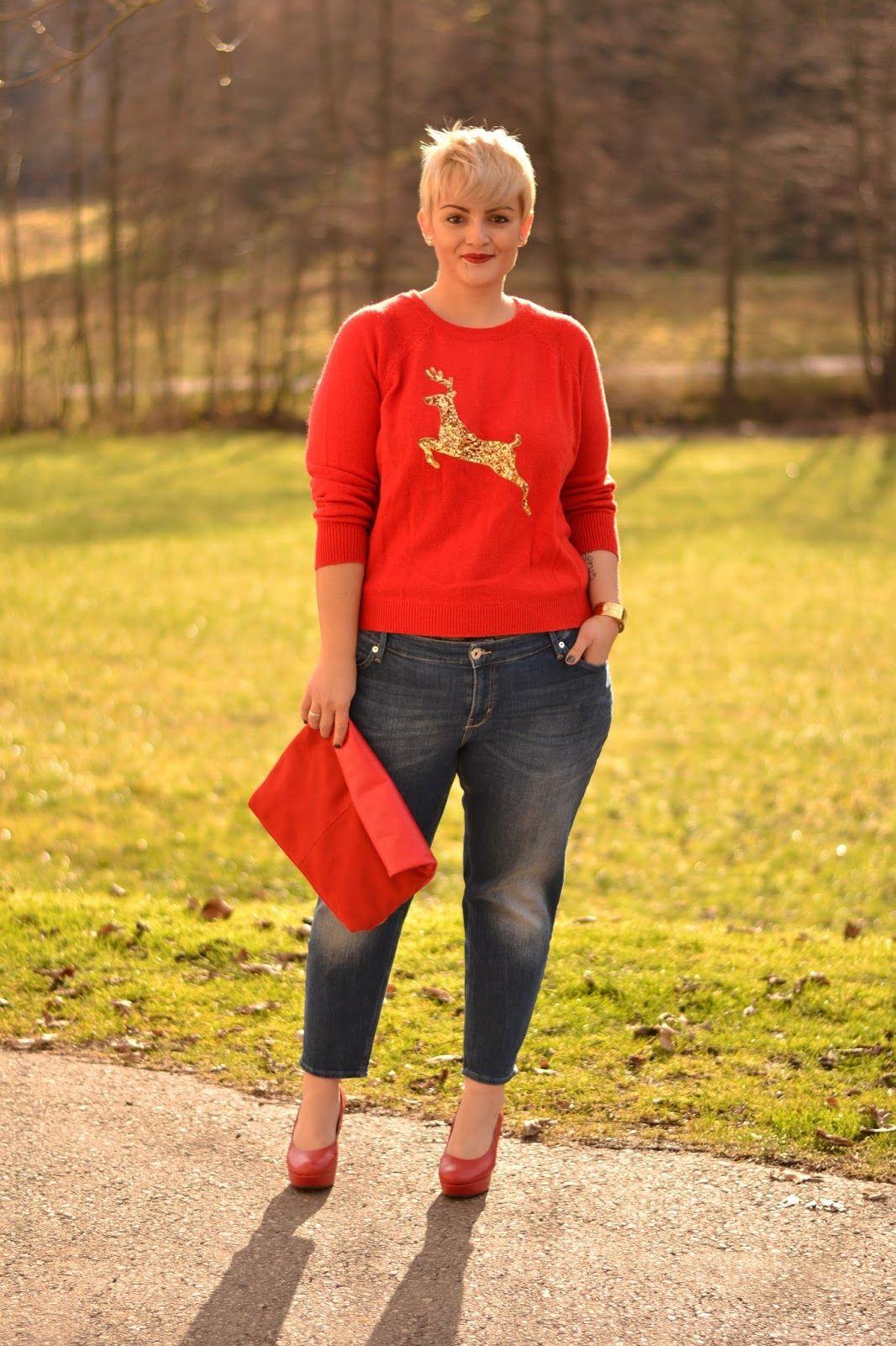 5899af1881525 Plus Size Fashion for Women - Plus Size Outit - Curvy Claudia: Christmas  Jumper Outfit