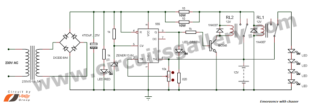 Simple Emergency Light Circuit With Automatic Charger Elettronica