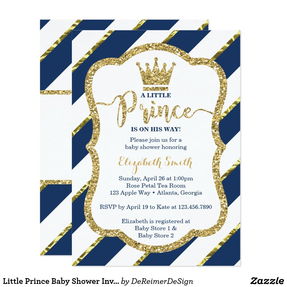 Little Prince Baby Shower Invite, Faux Glitter Card | Baby Shower ...