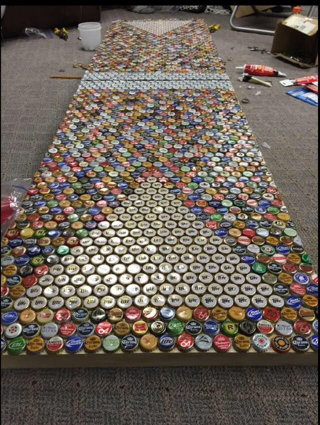 Beer pong table made out of bottle caps http www for What can i make with beer bottle caps