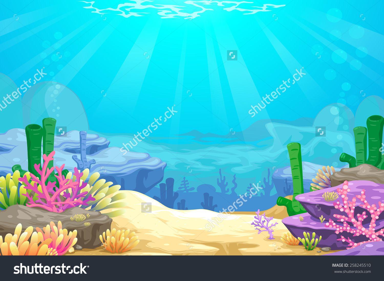 Under The Sea Vector Background 258245510 Shutterstock Shark Background Vector Background Sea Illustration