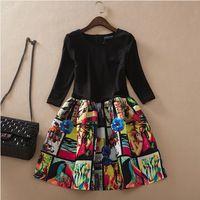 New 2014 Summer Women Oil Painting Print Puff Dress Korean Brand Slim Fit Three-quarter Sleeve Puffy Ball Gowns Femininas