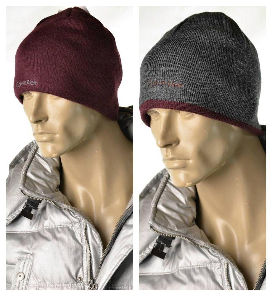 187bc7d09 Calvin Klein Hat Mens Burgundy Gray Logo Knit Reversible Cap Skully ...