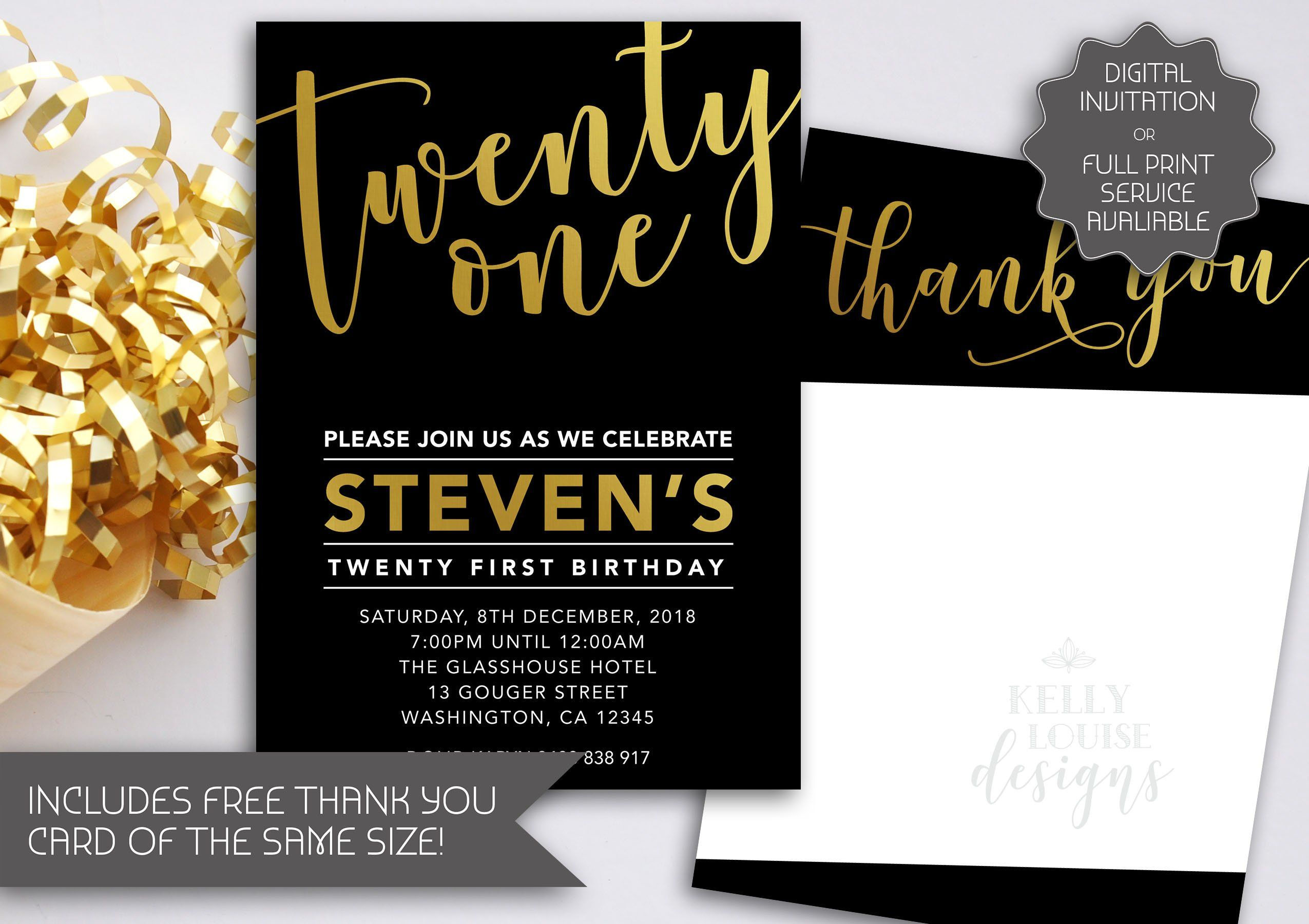 Gold Foil 21st Birthday Invitation | Printable Invitation | Twenty One  Birthday I… | 21st birthday invitations, Printable birthday invitations,  Birthday invitations