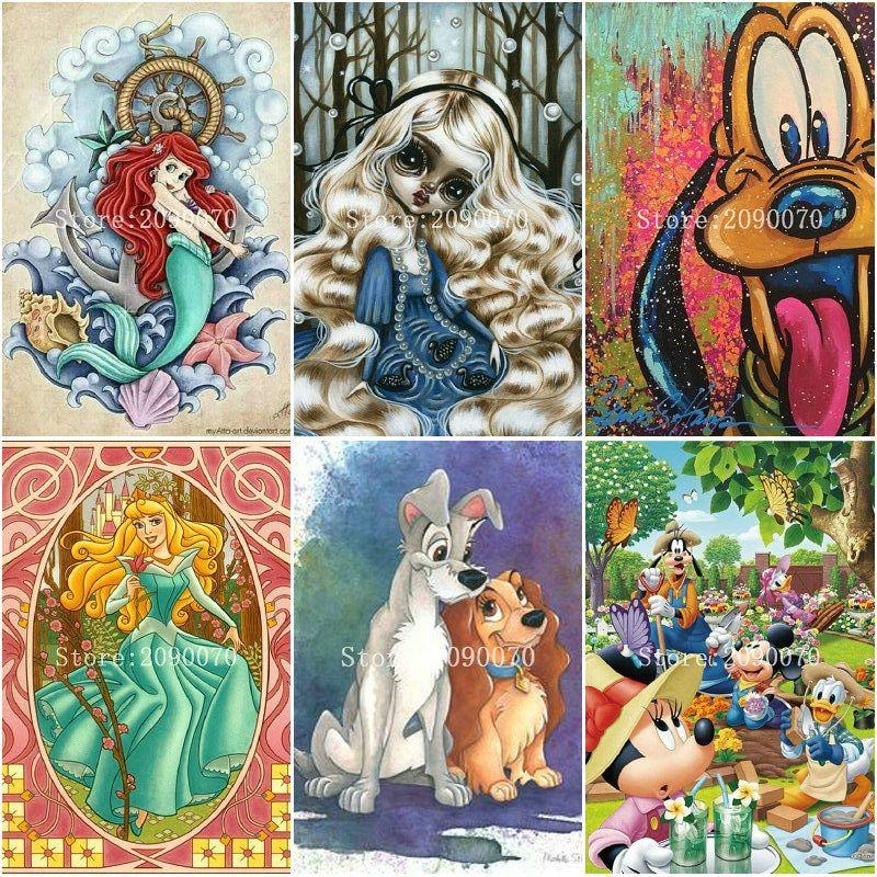5D Diamond Painting Full Diamond Cross Embroidery SquareRound Diamond Painting Cartoon Animals Home Decoration Painting Suite
