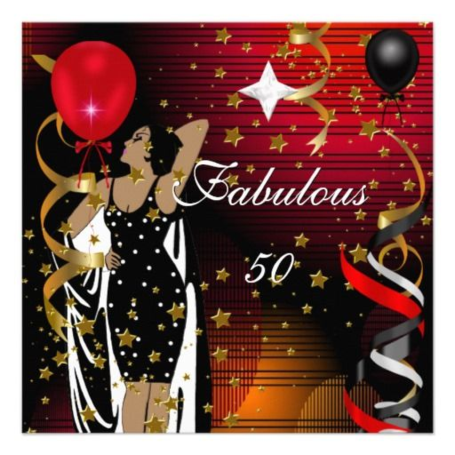 50 And Fabulous Text: Fabulous 50 Fifty Birthday Party Black Red Stars 2