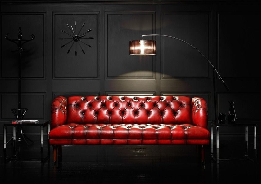 Couch Tuftedleather Interiors, Dark Red Color Leather Sofa