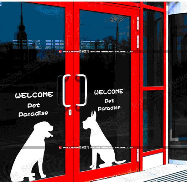 Welcome Door Wall Stickers Pet Dog Silhouette Pet Store Decoration Hound Cartoon White Free Shipping In Dog Memorials Dog Silhouette Pet Store Wall Stickers