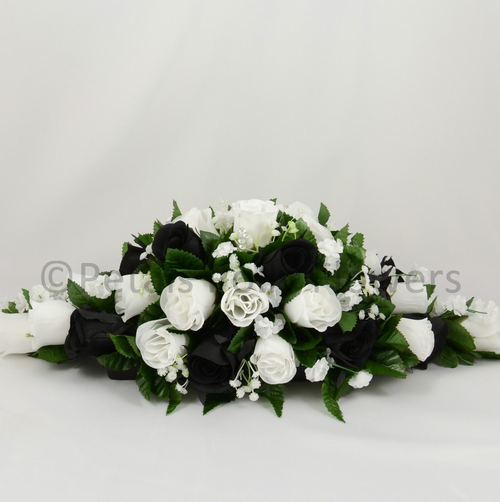 Silk Wedding Flowers by Petals Polly, TOP TABLE DECORATION in BLACK ...