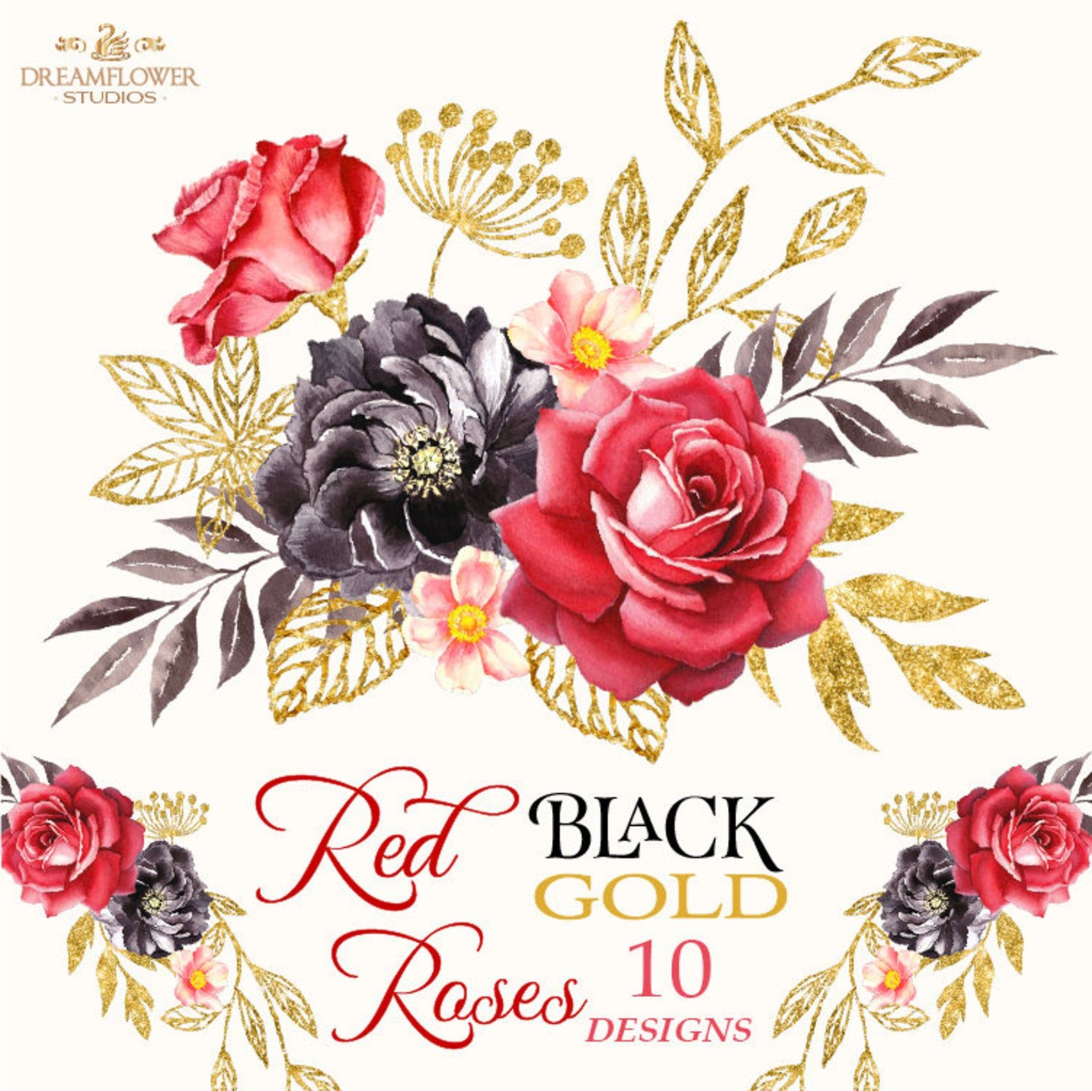 Red And Black Watercolor Flowers Gold Red Roses Clipart Red
